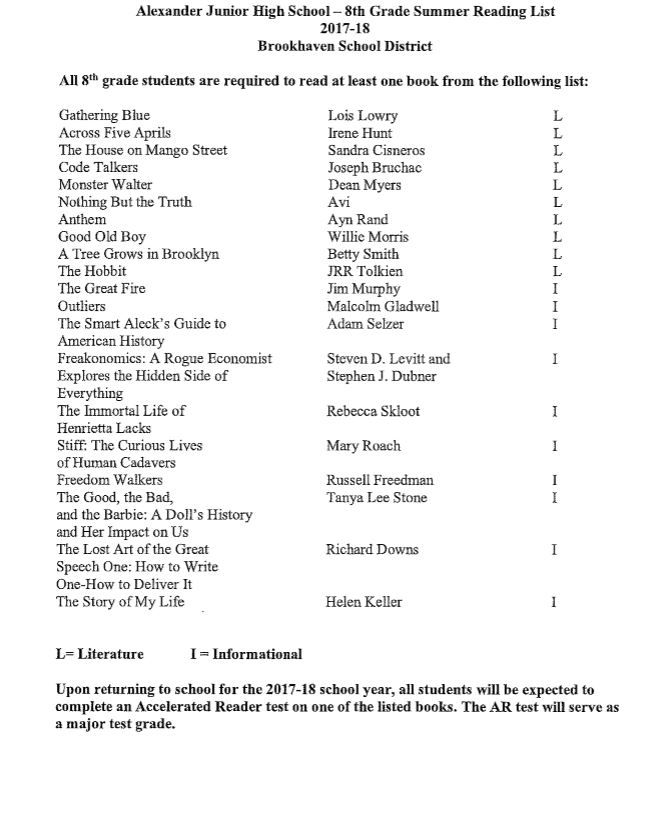Alexander Junior High Summer Reading List Grade 8